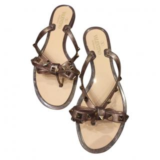 Valentino Brown Rockstud Thong Sandals