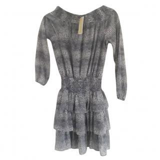 Michael Michael Kors Blue & White Ruffled Mini Dress