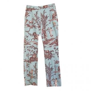 Max Mara Blue/Red Printed Pants