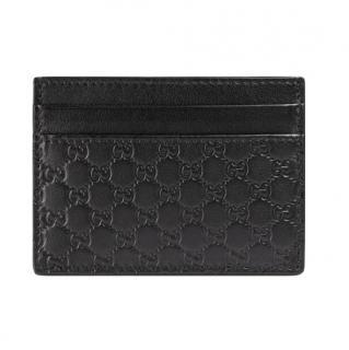 Gucci Black Monogram Leather Card Holder