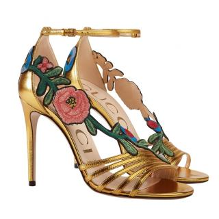 Gucci Gold Embroidered Metallic Mid Heel Sandal