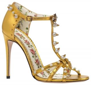 Gucci Metallic Gold Strappy Sandals