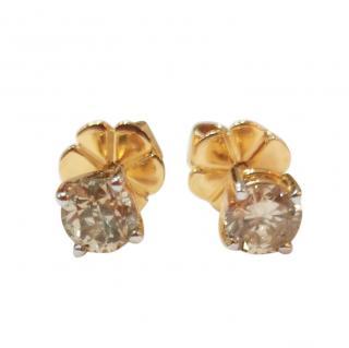 Bespoke Champagne Diamond Stud Earrings in Yellow Gold