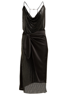 Paco Rabanne Wrap chainmail and satin midi dress