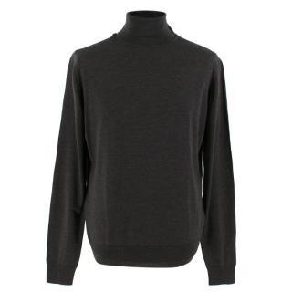 John Smedley Grey Wool Roll Neck Pullover Jumper