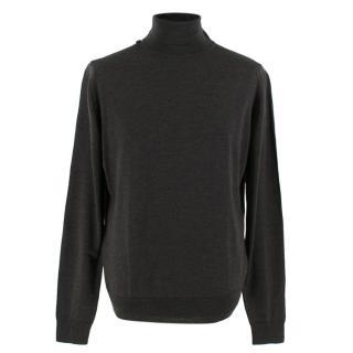 John Smedley Grey Wool Roll Neck Pullover Jumper