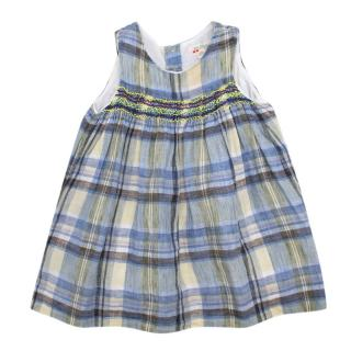 Bonpoint Blue Sleeveless Plaid Baby Dress