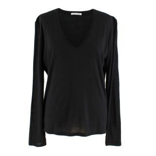 Frances De Lourdes Black V Neck Long Sleeve Top