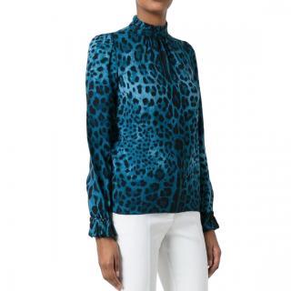 Dolce & Gabbana Blue Leopard Print Ruffle Neck Blouse
