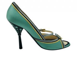 Prada Green Embellished Satin Pumps