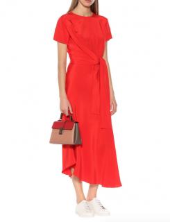 Etro Red Tie Front Crepe De Chine Midi Dress