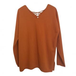 Max Mara Orange Lace-Up Knit Top