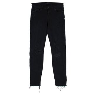 J Brand High Rise Capri Distressed Black Skinny Jeans