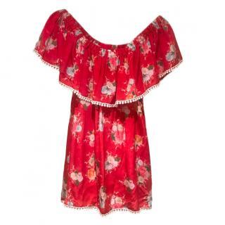 Athena Procopiou Red Floral Bardot Blouse
