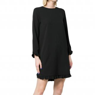 Ganni Black Stretch Crepe Ruffle Hem Dress