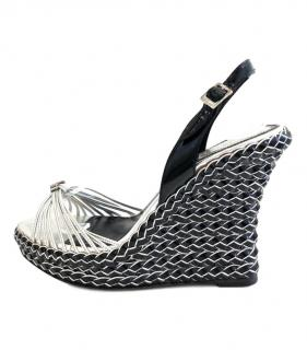 Christian Dior Woven Silver & Black Wedge Sandals