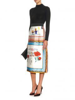 Dolce & Gabbana Drawing Print Full Silk Skirt