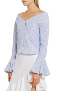 Jacquemus Off-the-shoulder Striped Cotton Poplin Shirt