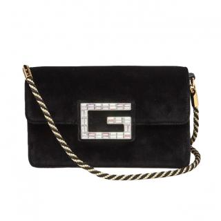 Gucci Black Velvet Broadway Small Crossbody Flap Bag