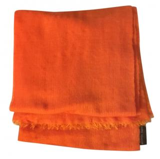 Hermes Orange Cashmere & Silk Scarf