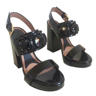 Marni Black Crystal Embellished Block Heel Sandals