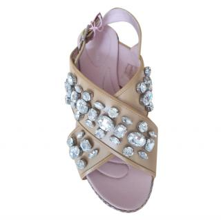Phillipe Model Crystal Embellished Caramel Sandals