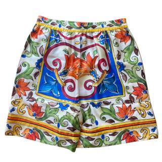 Dolce & Gabbana Sicily Maiolica Silk Shorts