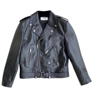 Celine Homme Black Calf Leather Biker Jacket