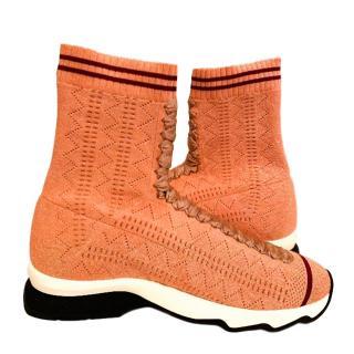 Fendi Rose Gold Sock Runners