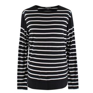 Vince Striped Long Sleeve Round Neck Top