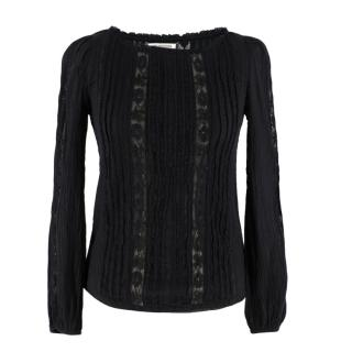 Isabel Marant Etoile Black Lace Panelled Long Sleeve Top