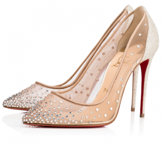 Christian Louboutin Follies Strass 100 Nude Rete/Glitter Pumps