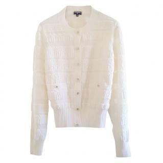 Chanel White Wool Blend FW19 Knit Cardigan