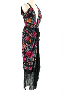 One Vintage Black V-Neck Embroidered Fringed Dress