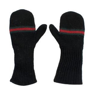 Gucci Web Stripe Kids Wool Mittens