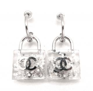 Chanel Resin Padlock CC Earrings