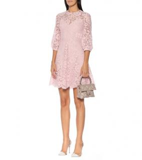 Valentino Scalloped Lace A-line Minidress In Pink