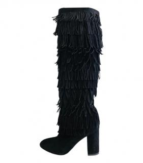 Aquazzura Suede Fringed Woodstock Knee Boots