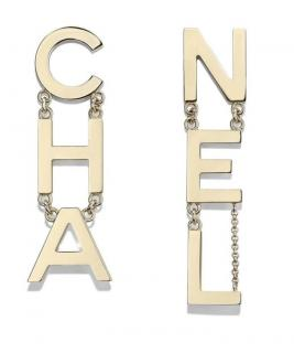 Chanel Gold Tone Logo Drop RUNWAY Earrings