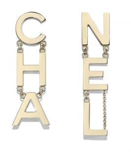 Chanel Gold Tone Logo Drop RUNWAY Earrings
