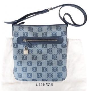 Loewe Grey Canvas & Leather Crossbody Bag