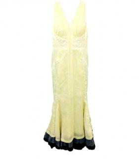 J. Mendel Lemon Yellow Lace Detailed Silk Fishtail Gown
