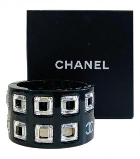 Chanel Crystal Embellished Resin Wide Black Cuff