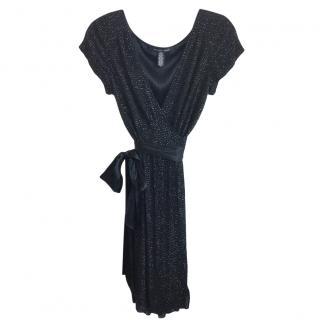 Diane Von Furstenburg Black Embellished Wrap Dress