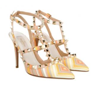 Valentino Orange Rockstud Native Couture Leather T Strap Sandals