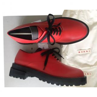 Marni Red Leather Oversize Brogues