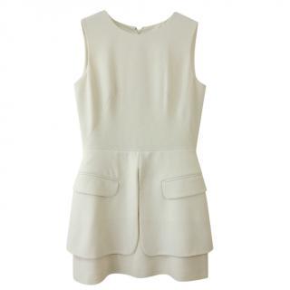 Alexander McQueen Wool Crepe Ivory Sleeveless Mini Dress