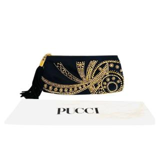 Emilio Pucci Black & Gold Beaded Silk Clutch