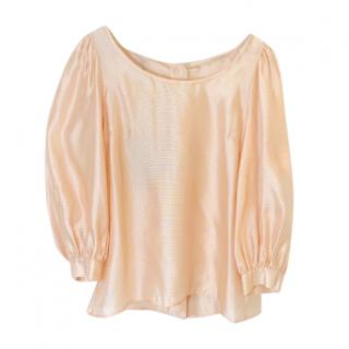 Escada Peach Silk Puff Sleeve Blouse