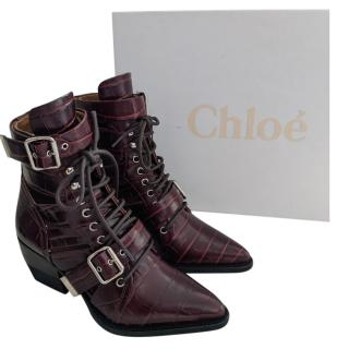 Chloe Burgundy Lace-Up Croc Effect Rylee Boots